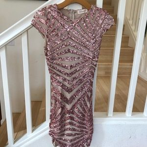 Pink rosegold sequin mesh party dress